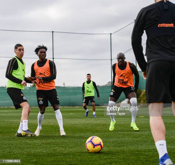 Newcastle players seen LR Miguel Almiron Christian Atsu DeAndre Yedlin and Mohamed Diame look at the ball during the Newcastle United Warm Weather...