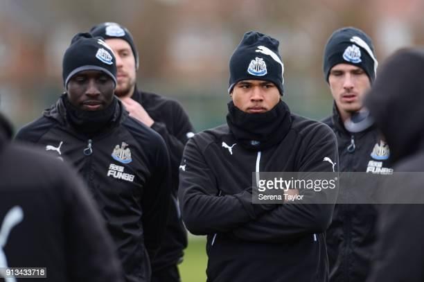 Newcastle players seen LR Mo Diame Florian Lejeune Kenedy and Ciaran Clark during the Newcastle United Training session at the Newcastle United...