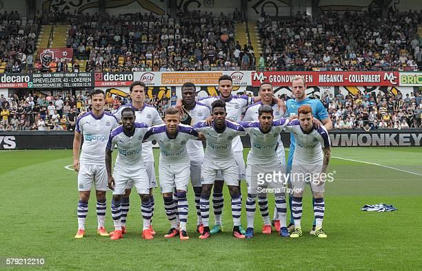 Newcastle players seen top row LR Jamie Sterry Daryl Janmaat Chancel Mbemba Jamaal Lascelles Isaac Hayden Matz Sels lower row seen LR Vurnon Anita...