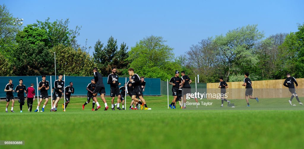 Newcastle players warm up during the Newcastle United Training Session at the Newcastle United Training Centre on May 8, 2018, in Newcastle upon Tyne, England.