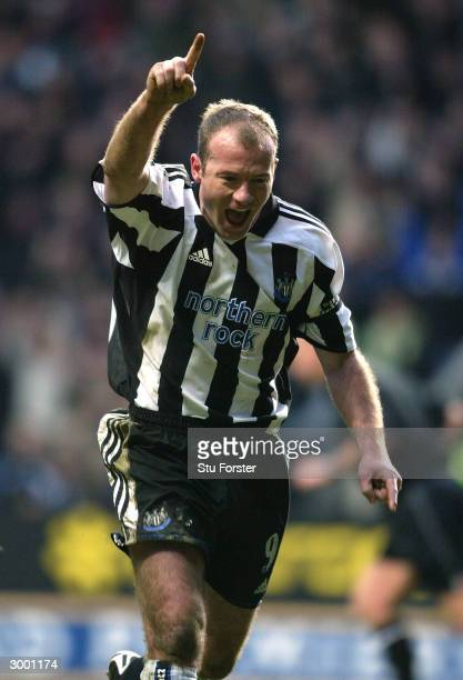 Newcastle striker Alan Shearer celebrates after scoring for Newcastle from the penalty spot during the FA Barclaycard Premiership match between...