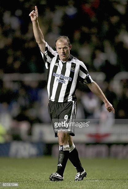 Newcastle striker Alan Shearer celebrates after scoring the second Newcastle goal during the UEFA Cup Round of 32 match between Newcastle United and...