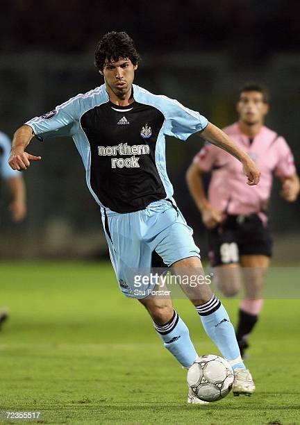 Newcastle striker Albert Luque races towards goal during the UEFA Cup Group Match H between Palermo and Newcastle United at the Renzo Barbera Stadium...