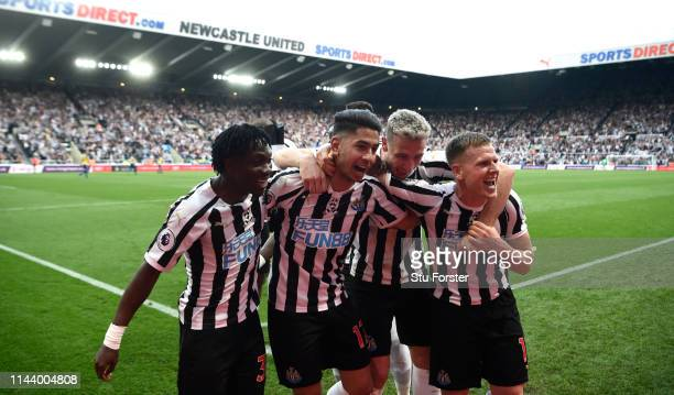 Newcastle striker Ayoze Perez celebrates his hat trick goal with team mates during the Premier League match between Newcastle United and Southampton...