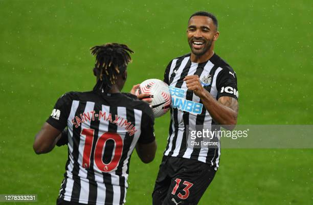 Newcastle striker Callum Wilson celebrates with Allan Saint-Maximin after scoring his first and Newcastle's second goal during the Premier League...