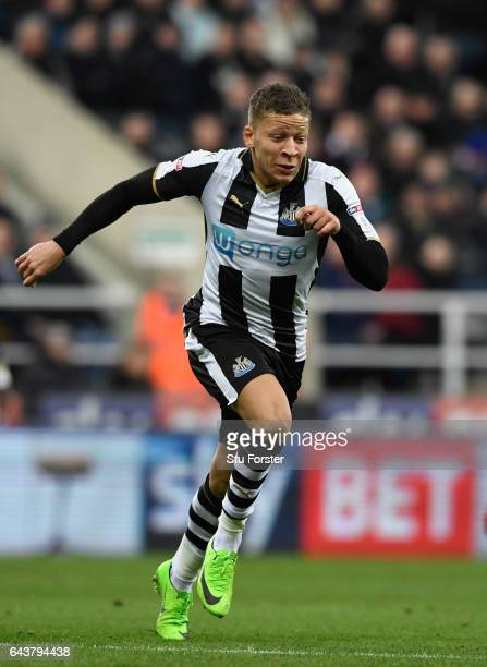 Newcastle striker Dwight Gayle in action during the Sky Bet Championship match between Newcastle United and Aston Villa at St James' Park on February...