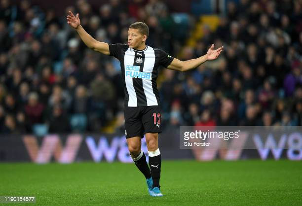 Newcastle striker Dwight Gayle reacts during the Premier League match between Aston Villa and Newcastle United at Villa Park on November 25, 2019 in...