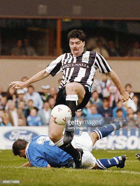 Newcastle striker Mick Quinn scores during a League Division Two match between Newcastle United and Millwall at St James' Park on September 8 1990 in...