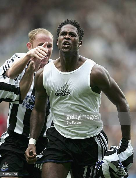 Newcastle striker Patrick Kluivert celebrates after scoring for Newcastle during the FA Barclays Premiership match between Newcastle United and West...