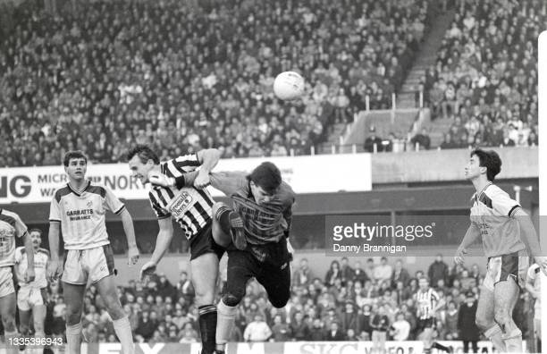 Newcastle striker Paul Goddard heads in the second goal past Preston goalkeeper Alan Kelly as Alex Jones looks on during the FA Cup 4th Round match...