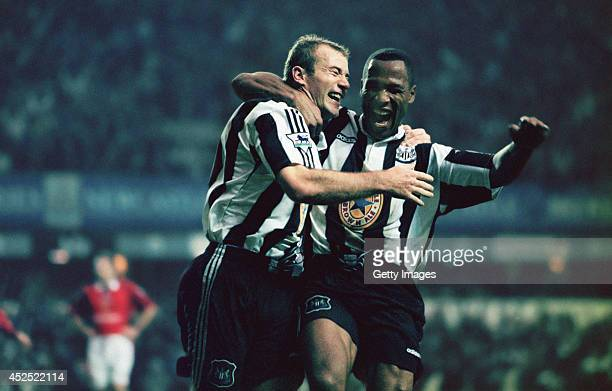 Newcastle strikers Alan Shearer and Les Ferdinand celebrate a goal during the Premiership match between Newcastle United and Manchester United at St...