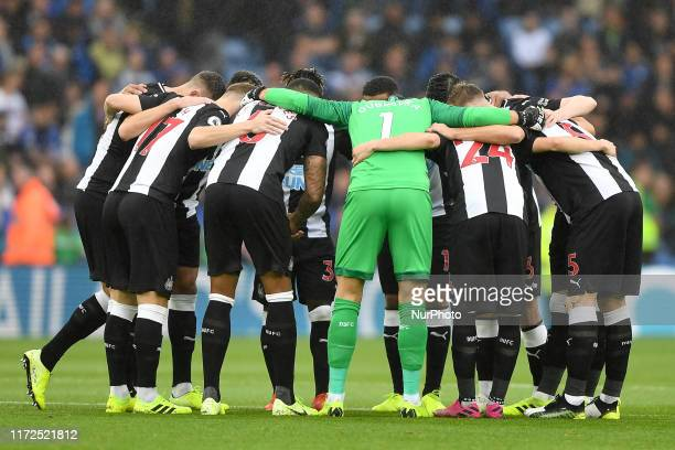 Newcastle team group-hug during the Premier League match between Leicester City and Newcastle United at the King Power Stadium, Leicester on Sunday...