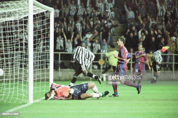 Newcastle United 32 Barcelona UEFA Champions League Group C match at St James Park Wednesday 17th September 1997 Our picture shows Tino Asprilla in...