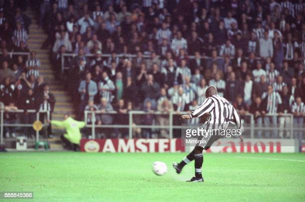 Newcastle United 32 Barcelona UEFA Champions League Group C match at St James Park Wednesday 17th September 1997 Our picture shows 1st goal a penalty...