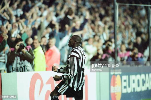 Newcastle United 32 Barcelona UEFA Champions League Group C match at St James Park Wednesday 17th September 1997 Our picture shows Tino Asprilla...