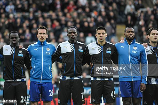 Newcastle United and Leicester City players seen LR Cheick Tiote Christian Fuchs Moussa Sissoko Aleksandar Mitrovic Wes Morgan and Daryl Janmaat line...