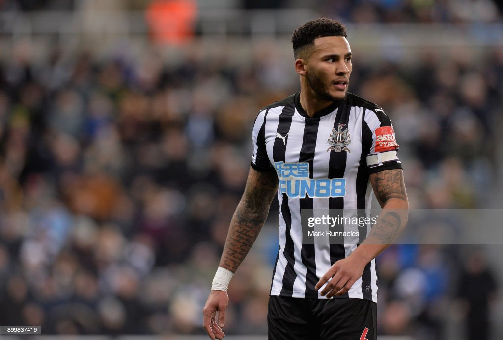 Newcastle United captain Jamaal Lascelles during the Premier League match between Newcastle United and Brighton and Hove Albion at St. James Park on December 30, 2017 in Newcastle upon Tyne, England.