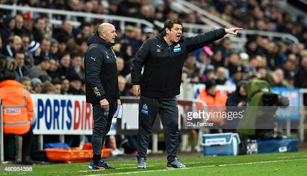 Newcastle United caretaker coach John Carver makes a point with assistant Steve Stone during the Barclays Premier League match between Newcastle...