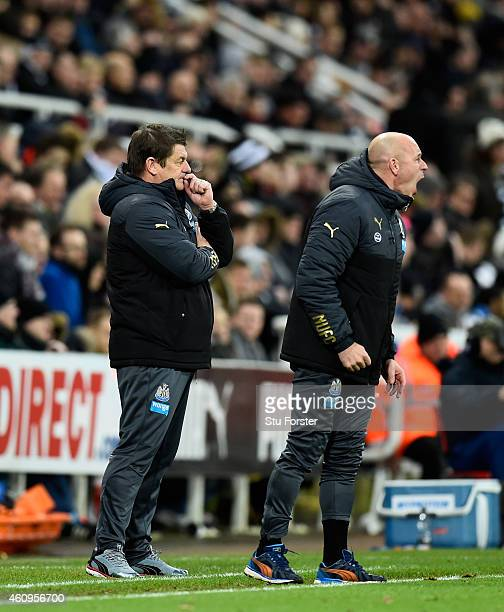Newcastle United caretaker manager John Carver looks on as assistant Steve Stone barks out orders during the Barclays Premier League match between...