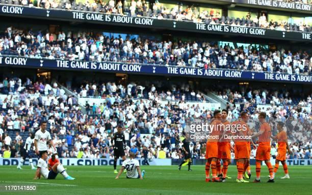 Newcastle United celebrate winning the Premier League match between Tottenham Hotspur and Newcastle United at Tottenham Hotspur Stadium on August 25...