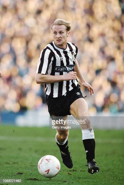Newcastle United defender Darren Bradshaw in action during an FA Cup match against Manchester United at St James's Park on February 18 1989 in...