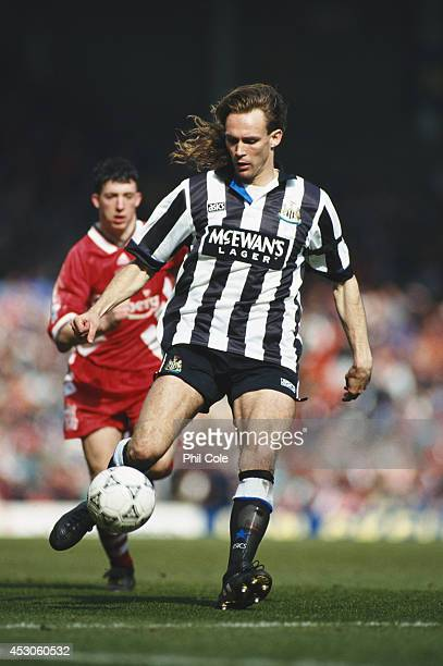 Newcastle United defender Darren Peacock outpaces Robbie Fowler during a Premier League match between Liverpool and Newcastle United at Anfield on...