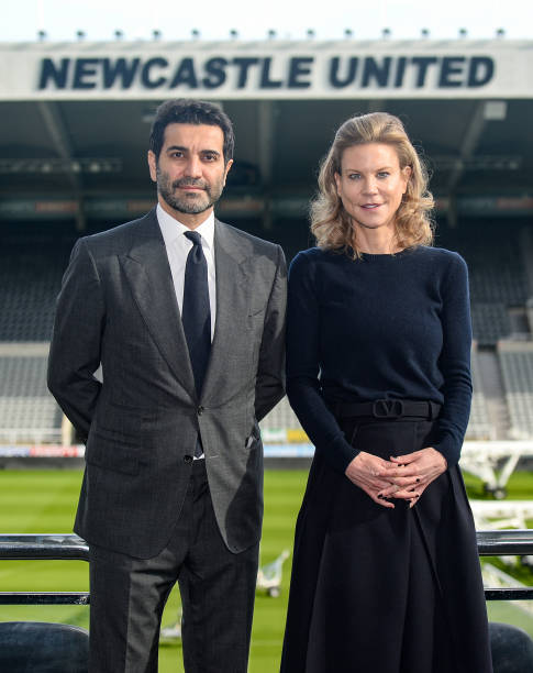 Newcastle United Directors Amanda Staveley and Mehrdad Ghodoussi pose for photographs inside their stadium after meeting with staff at St. James Park...