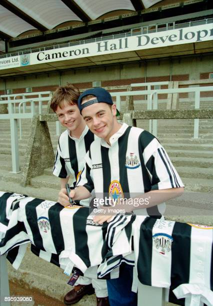 Newcastle United fans and entertainers Ant and Dec at the launch at St James' Park on May 10 1995 of the new adidas 'grandad collar shirt' which...