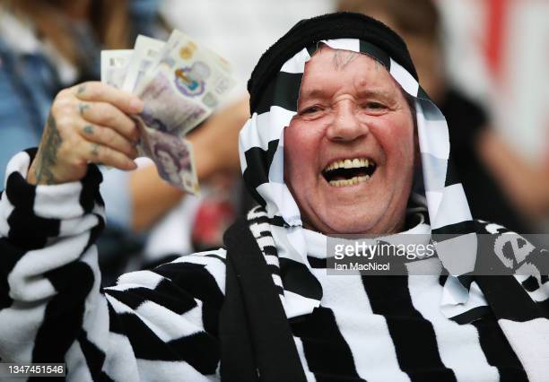 Newcastle United fans are seen during the Premier League match between Newcastle United and Tottenham Hotspur at St. James Park on October 17, 2021...