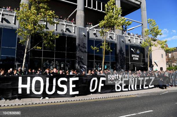 Newcastle United fans display a banner in support of manager Rafael Benitez before the Premier League match between Newcastle United and Leicester...