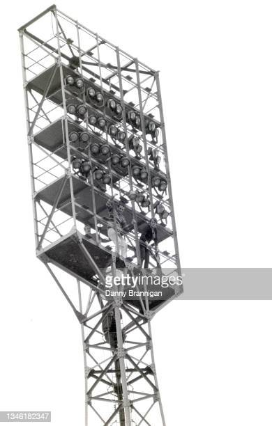 Newcastle United fans get an elevated view of proceedings from the floodlight pylon as Newcastle are promoted back to the First Division after a 2-2...