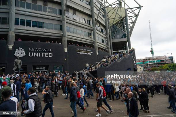 Newcastle United fans head to St James' Park football stadium ahead of the match against Tottenham Hotspur and the first game following the club's...