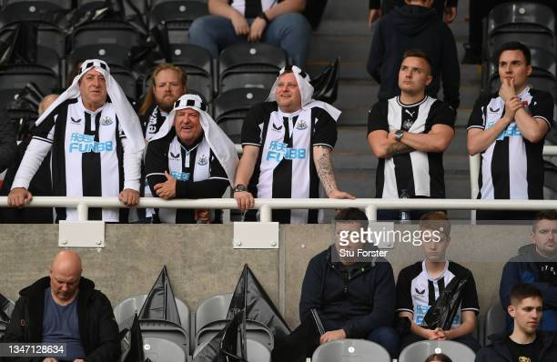 Newcastle United fans in fancy dress pictured in the Gallowgate End before the Premier League match between Newcastle United and Tottenham Hotspur at...