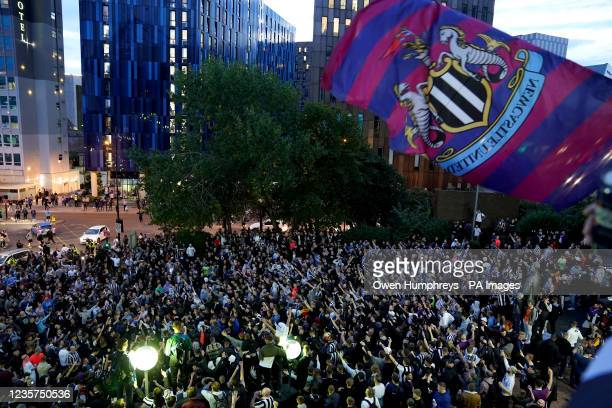 Newcastle United fans outside St James' Park following the announcement that The Saudi-led takeover of Newcastle has been approved. Picture date:...