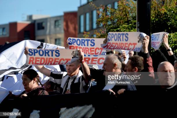 Newcastle United fans protest against chairman Mike Ashley outside the stadium prior to the Premier League match between Newcastle United and...