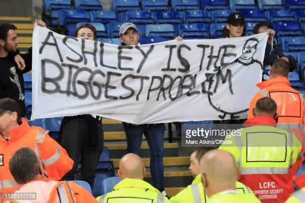 Newcastle United fans protest against owner Mike Ashley after the Premier League match between Leicester City and Newcastle United at The King Power...