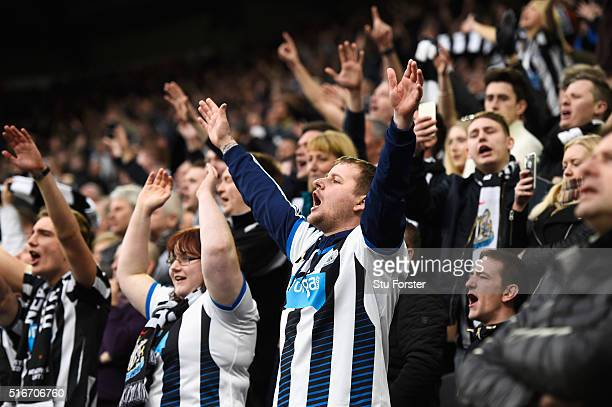 Newcastle United fans show their support during the Barclays Premier League match between Newcastle United and Sunderland at St James' Park on March...