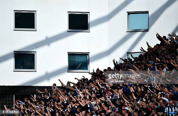 Newcastle United fans show their support during the Barclays Premier League match between Norwich City and Newcastle United at Carrow Road on April 2...