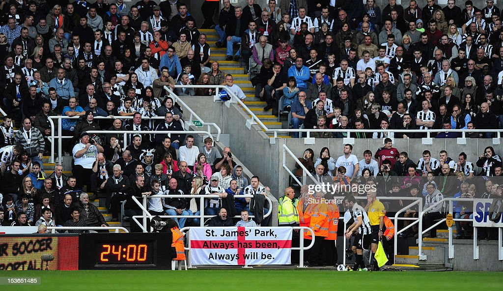 Newcastle United fans show their support for the original name stadium name of St James' Park during the Barclays Premier league game between Newcastle United and Manchester United at Sports Direct Arena on October 7, 2012 in Newcastle upon Tyne, England.