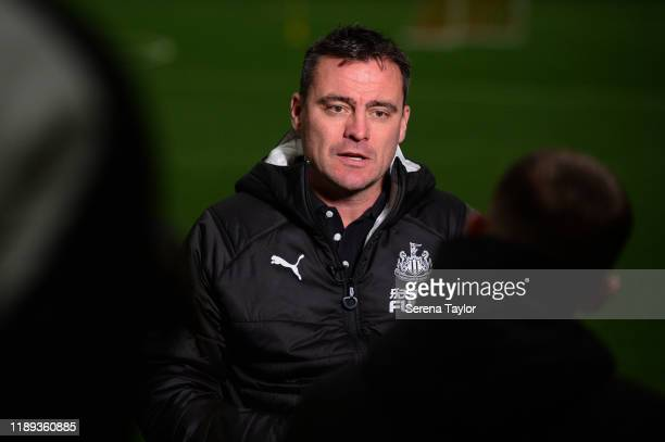 Newcastle United First Team Coach Steve Harper speaks to NUFCTV at the Newcastle United Training Centre on November 22 2019 in Newcastle upon Tyne...