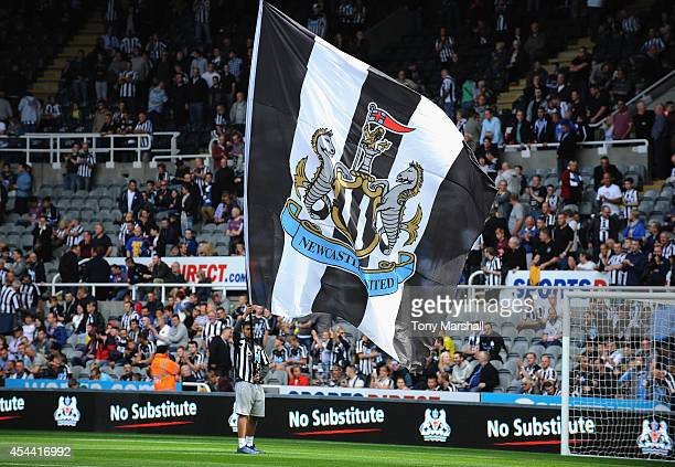Newcastle United flag on the pitch during the Barclays Premier League match between Newcastle United and Crystal Palace at St James' Park on August...