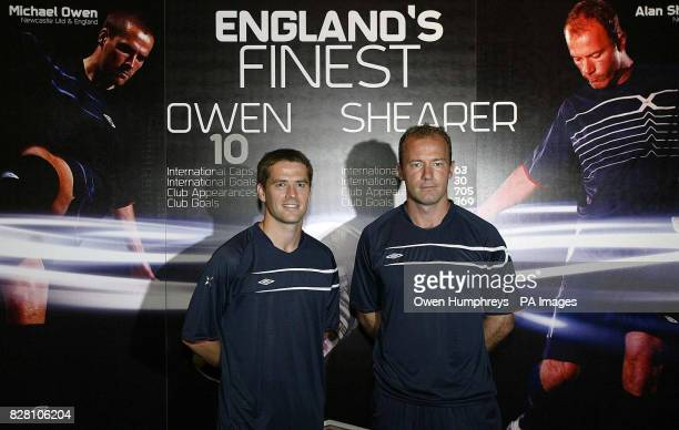 Newcastle United footballers Michael Owen and Alan Shearer pose for photographers during an Umbro press conference at the Hilton Hotel in Gateshead...