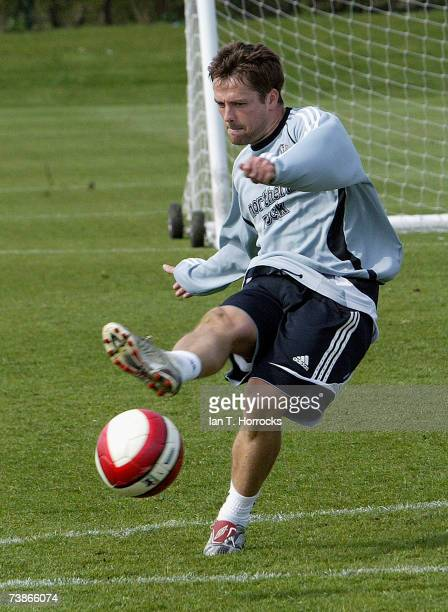 Newcastle United forward Michael Owen in action after returning to training on April 12 2007 in Newcastle United Kingdom Owen has been out of action...