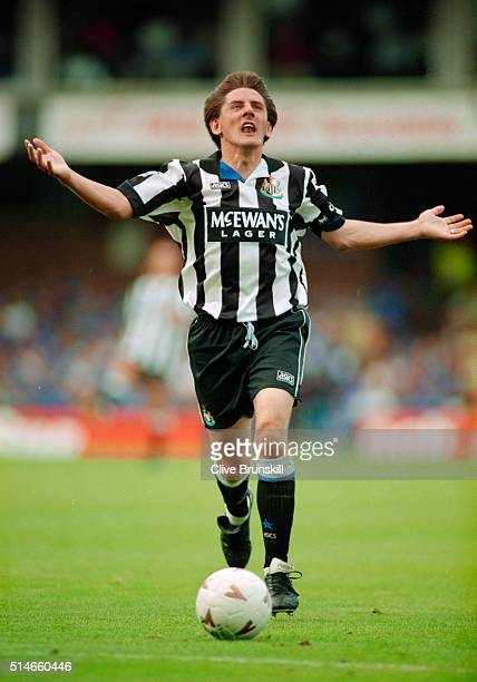 Newcastle United forward Peter Beardsley reacts during a Premier League match between Leicester City and Newcastle United at Filbert Street on August...