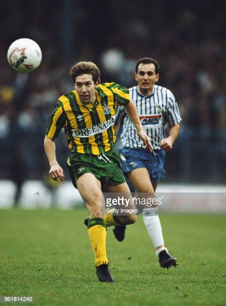 Newcastle United fullback Ray Ranson in action watched by Sheffield wednesday striker Imre Varadi during a Second Division match at Hillsbrough on...