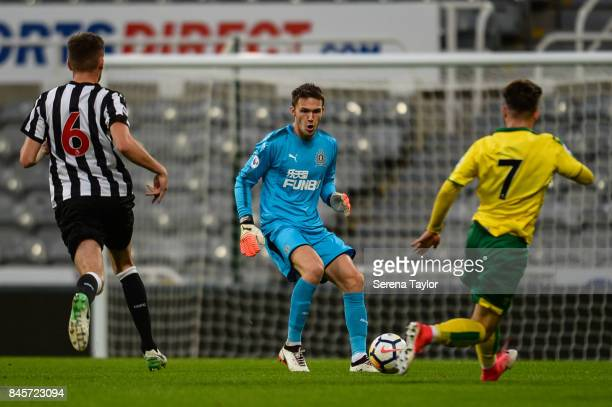 Newcastle United Goalkeeper Freddie Woodman looks to pass the ball during the Premier League 2 match between Newcastle United and Norwich City at...