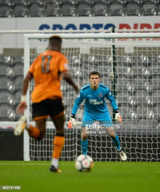 Newcastle United Goalkeeper Freddie Woodman sets himself in goal during the Premier League 2 match between Newcastle United and Wolverhampton...