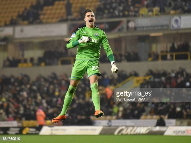 Newcastle United goalkeeper Karl Darlow celebrates during the Sky Bet Championship match between Wolverhampton Wanderers and Newcastle United at...