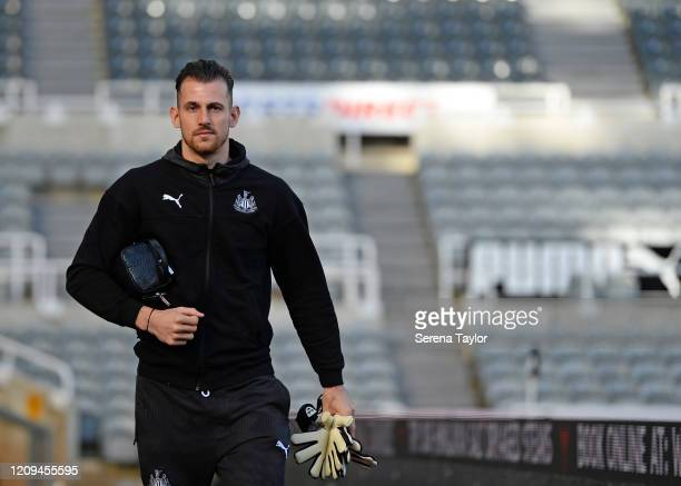 Newcastle United Goalkeeper Martin Dúbravka arrives for the Premier League match between Newcastle United and Burnley FC at St James Park on February...