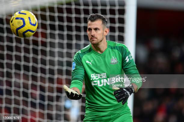 Newcastle United Goalkeeper Martin Dúbravka catches the ball during the Premier League match between Arsenal FC and Newcastle United at Emirates...